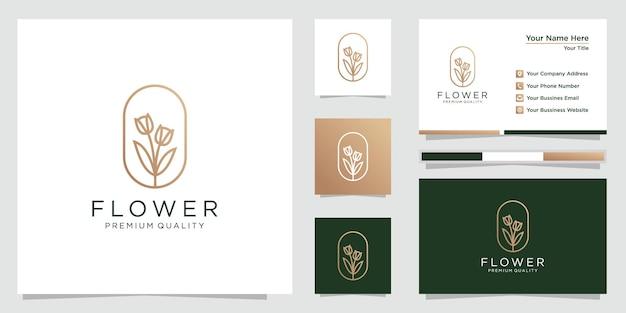 Projektowanie logo kwiatka ze stylem grafiki liniowej i wizytówką. logo może być używane w spa, salonie kosmetycznym, dekoracji, butiku itp. premium