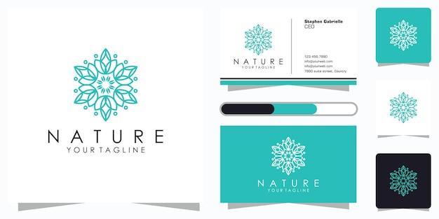 Projektowanie logo kwiatka ze stylem grafiki liniowej i wizytówką