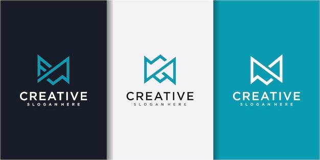 Projektowanie logo linii litery m. symbol liniowy kreatywnych minimalne monogram monogram. uniwersalny elegancki projekt znak wektor.