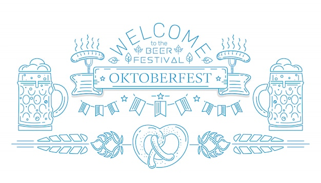Projektowanie logo linii oktoberfest. witamy na festiwalu piwa. zaproszenie na festiwal piwa. ilustracja