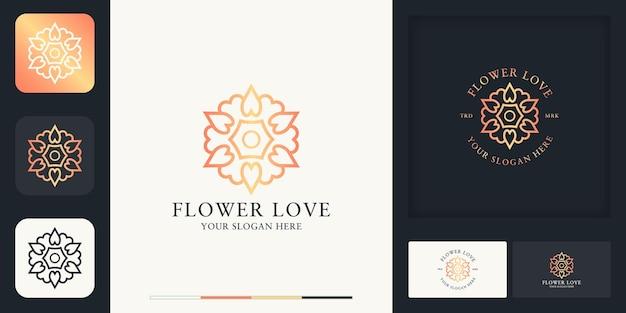 Projektowanie logo linii piękna kwiat wykorzystuje koncepcję miłości i wizytówkę