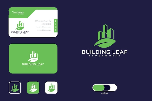 Projektowanie logo liścia budynku i wizytówka
