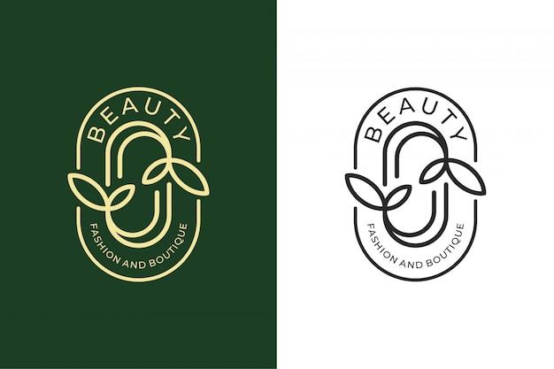 Projektowanie logo liścia piękna do projektowania logo mody i butiku