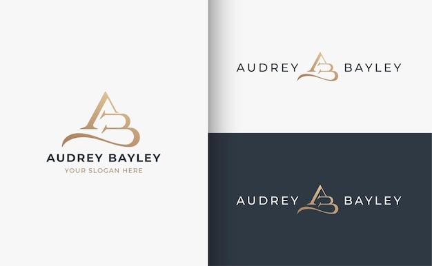 Projektowanie logo litery ab monogram serif