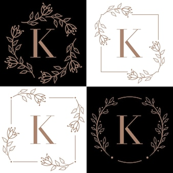 Projektowanie logo litery k z elementem liścia orchidei