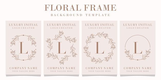 Projektowanie logo litery l z szablonem kwiatowy ramki