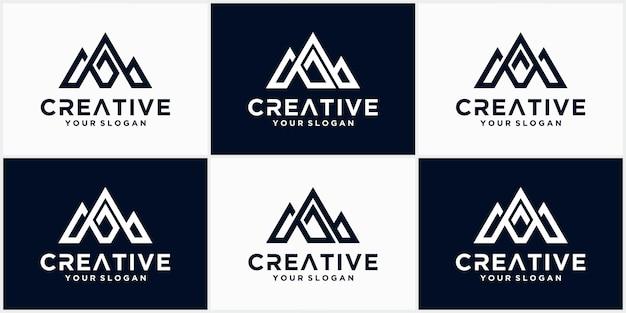 Projektowanie logo litery m, kreatywny nowoczesny list m z górami styl wektor logo ikona ilustracja.