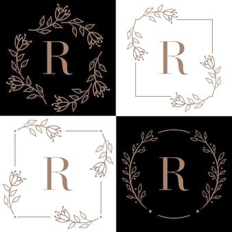 Projektowanie logo litery r z elementem liścia orchidei