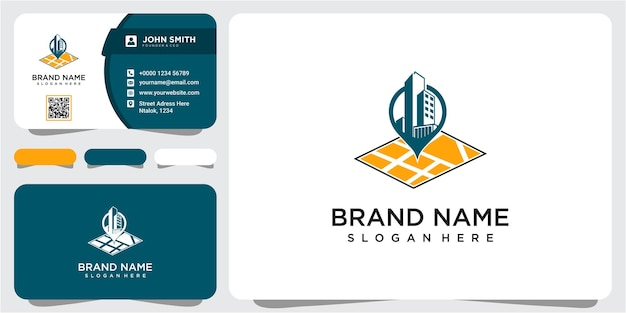 Projektowanie logo lokalizacji budynku z koncepcją pin. inspiracja do projektowania logo luksusowego domu i pinezki z wizytówką