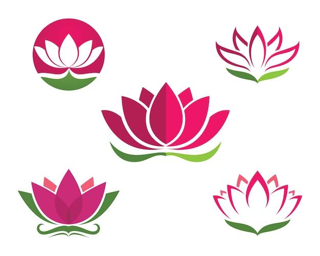 Projektowanie logo lotus kwiaty ikona szablonu