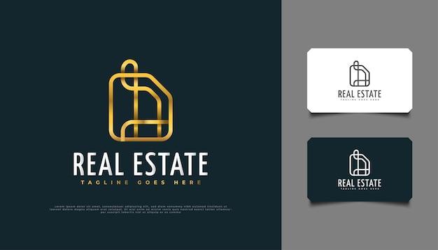 Projektowanie logo luksusowe złoto nieruchomości w koncepcji abstrakcyjnej w stylu linii.