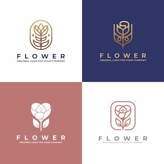 Projektowanie logo luksusowych kwiatów. kreatywne unikalne piękno, moda, salon kolekcja logo.
