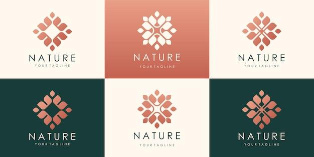 Projektowanie logo luksusowych kwiatów lotosu. liniowe uniwersalne kwiatowe logo w kształcie liści