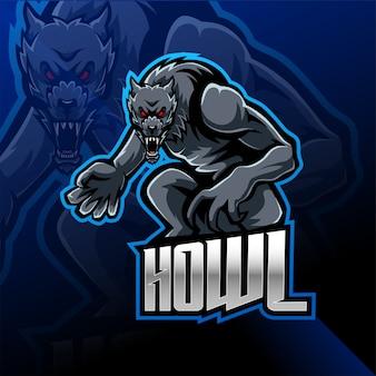 Projektowanie logo maskotka esport dzikiego wilka