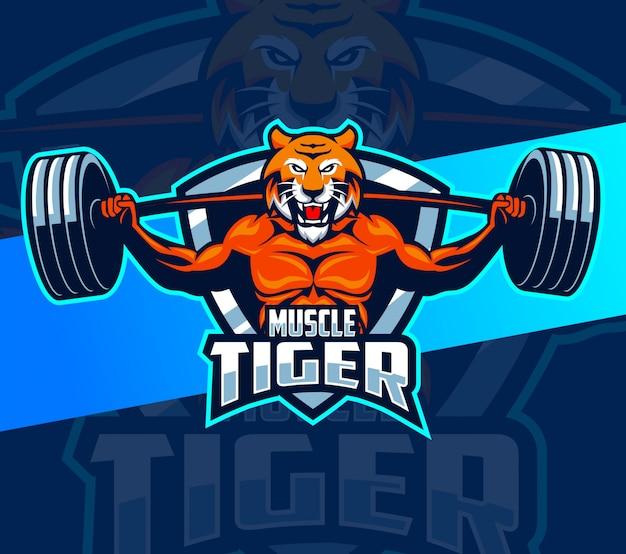 Projektowanie logo maskotka mięśni fitness tygrys