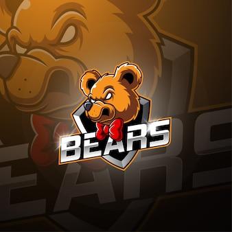 Projektowanie logo maskotka niedźwiedź esport