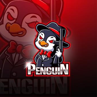 Projektowanie logo maskotka pingwin esport