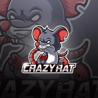 Projektowanie logo maskotka szalony szczur esport
