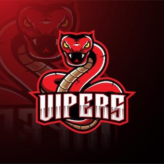 Projektowanie logo maskotka wąż czerwony viper