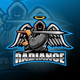 Projektowanie logo maskotka wojownik anioł esport