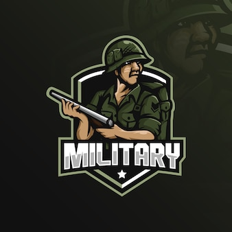 Projektowanie logo maskotka wojskowa z nowoczesnym stylu ilustracja koncepcja odznaka, godło