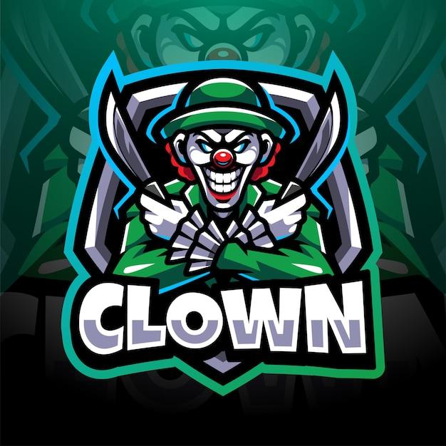 Projektowanie logo maskotki clown esport