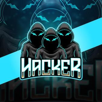 Projektowanie Logo Maskotki E-sportowej Hakera Premium Wektorów
