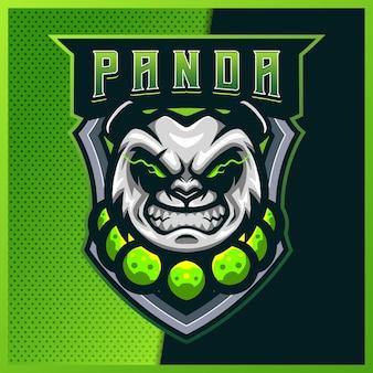 Projektowanie logo maskotki e-sportowej i sportowej panda monk z nowoczesną ilustracją. niedźwiedź ilustracja