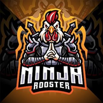 Projektowanie logo maskotki e-sportowej koguta ninja