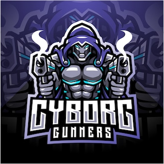 Projektowanie logo maskotki esport cyborg strzelców