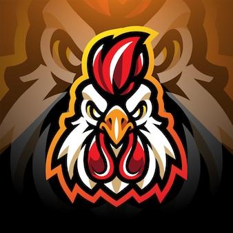 Projektowanie logo maskotki esport głowy koguta