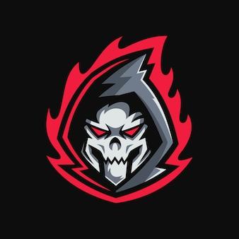 Projektowanie logo maskotki głowy czaszki reaper