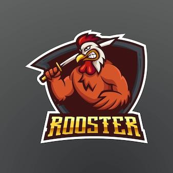 Projektowanie logo maskotki koguta. kogut niosący miecz dla drużyny sportowej i e-sportowej