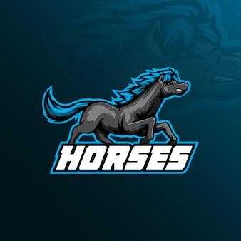 Projektowanie logo maskotki konia w nowoczesnym stylu ilustracji do drukowania znaczków, emblematów i t-shirtów.