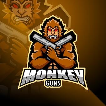 Projektowanie logo maskotki monkey gunner esport