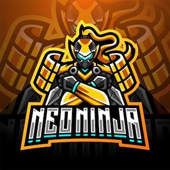 Projektowanie logo maskotki neo ninja esport