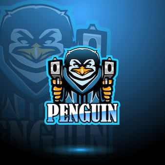 Projektowanie logo maskotki pingwin esport z pistoletem