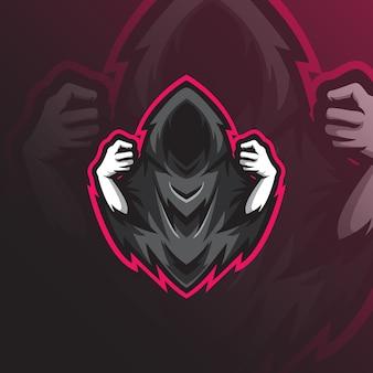 Projektowanie logo maskotki reaper z nowoczesnym stylem ilustracji do drukowania znaczków, emblematów i t-shirtów.