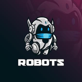 Projektowanie logo maskotki robota w nowoczesnym stylu ilustracji do drukowania znaczków, godła i tshirt.