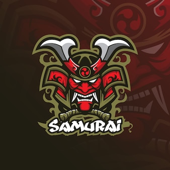 Projektowanie logo maskotki samura w nowoczesnym stylu ilustracji do drukowania znaczków, emblematów i t-shirtów.