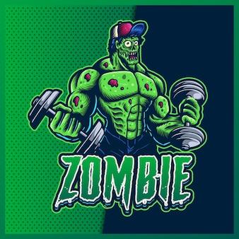 Projektowanie logo maskotki sportowej i e-sportowej zombie gym z nowoczesną ilustracją. ilustracja zielony zombie