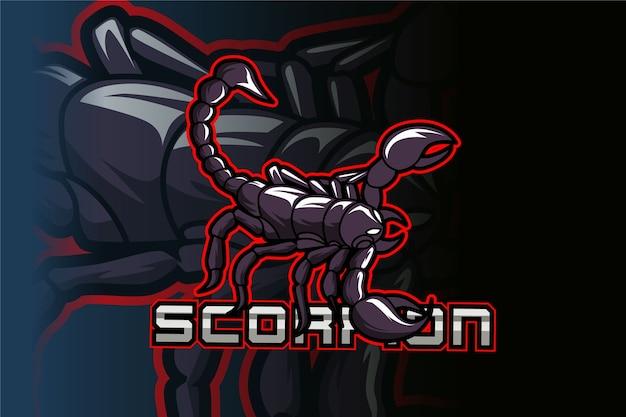 Projektowanie logo maskotki sportowej i sportowej scorpion w nowoczesnej koncepcji ilustracji