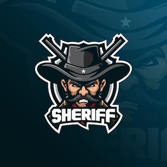 Projektowanie logo maskotki szeryfa z nowoczesnym stylem ilustracji do drukowania znaczków, godła i tshirt.