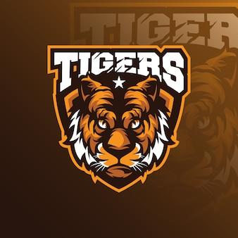 Projektowanie logo maskotki tygrysa z nowoczesnym stylem ilustracji do drukowania znaczków, emblematów i tshirtów.