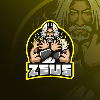 Projektowanie logo maskotki zeus z nowoczesnym stylu ilustracja koncepcja odznaka, godło