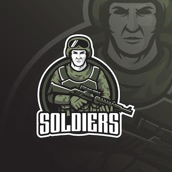 Projektowanie logo maskotki żołnierza z nowoczesnym stylem ilustracji do drukowania znaczków, godła i tshirt.