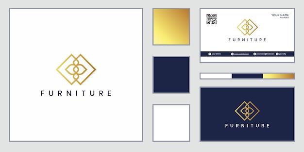 Projektowanie logo mebli. luksusowa linia wyposażenia wnętrz