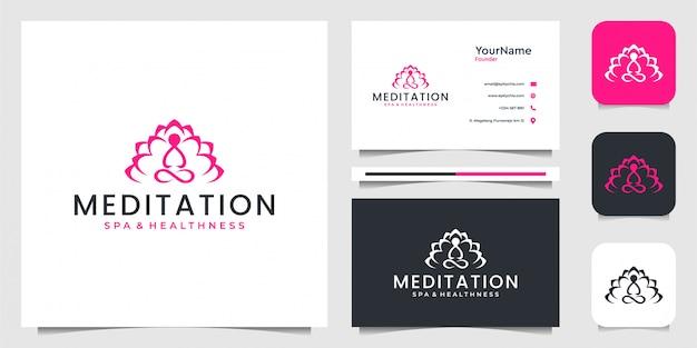 Projektowanie logo medytacji jogi z projektem wizytówki. logo można wykorzystać do dekoracji, spa, zdrowia i marki