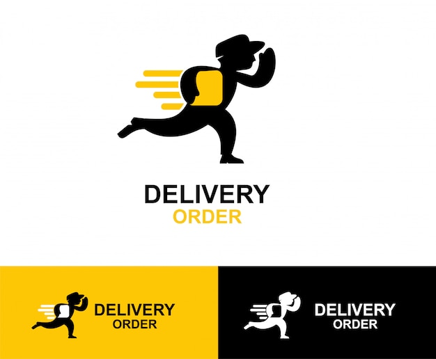 Projektowanie logo mężczyzna symbol dostawy