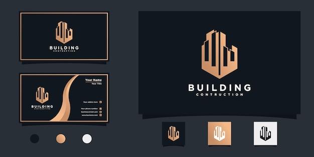 Projektowanie logo mieszkania kreatywnego budynku i projektowanie wizytówek premium vecto